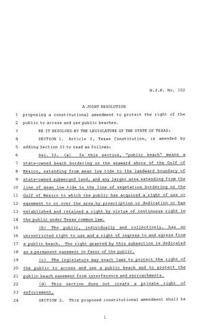 Primary view of object titled '81st Texas Legislature, House Concurrent Resolution, House Bill 102'.