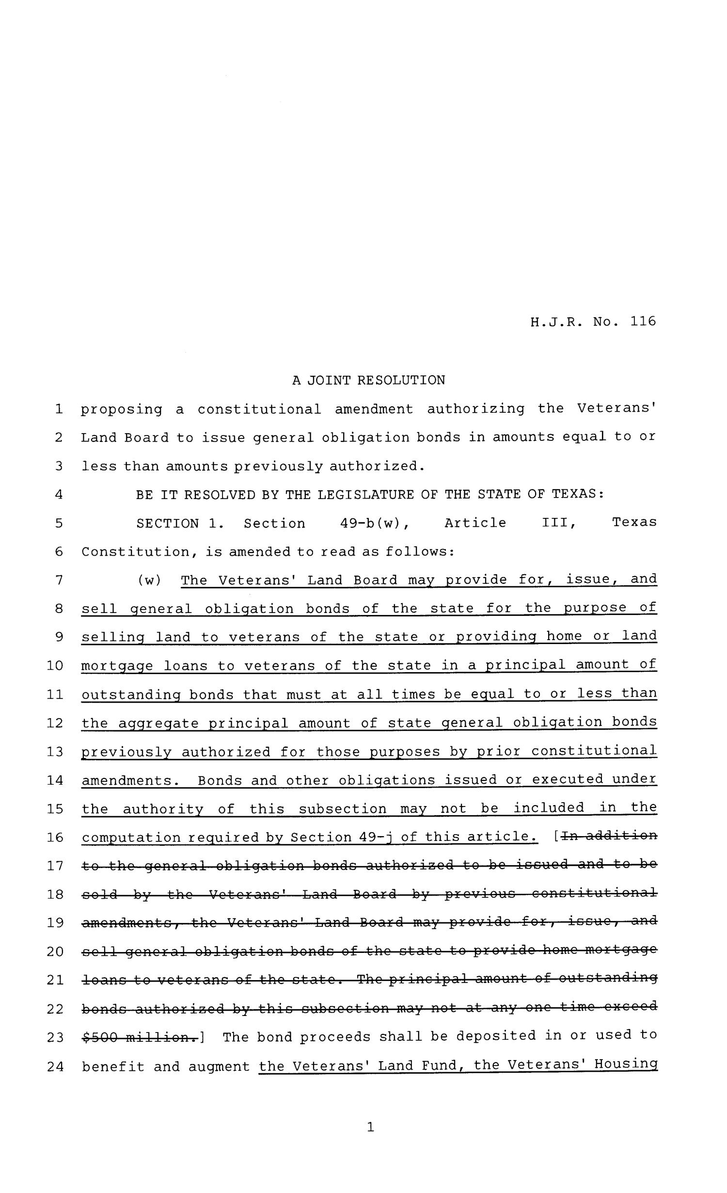 81st Texas Legislature, House Joint Resolutions, House Bill 116                                                                                                      [Sequence #]: 1 of 3