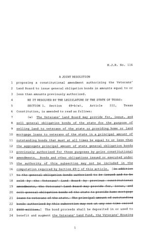 Primary view of object titled '81st Texas Legislature, House Joint Resolutions, House Bill 116'.