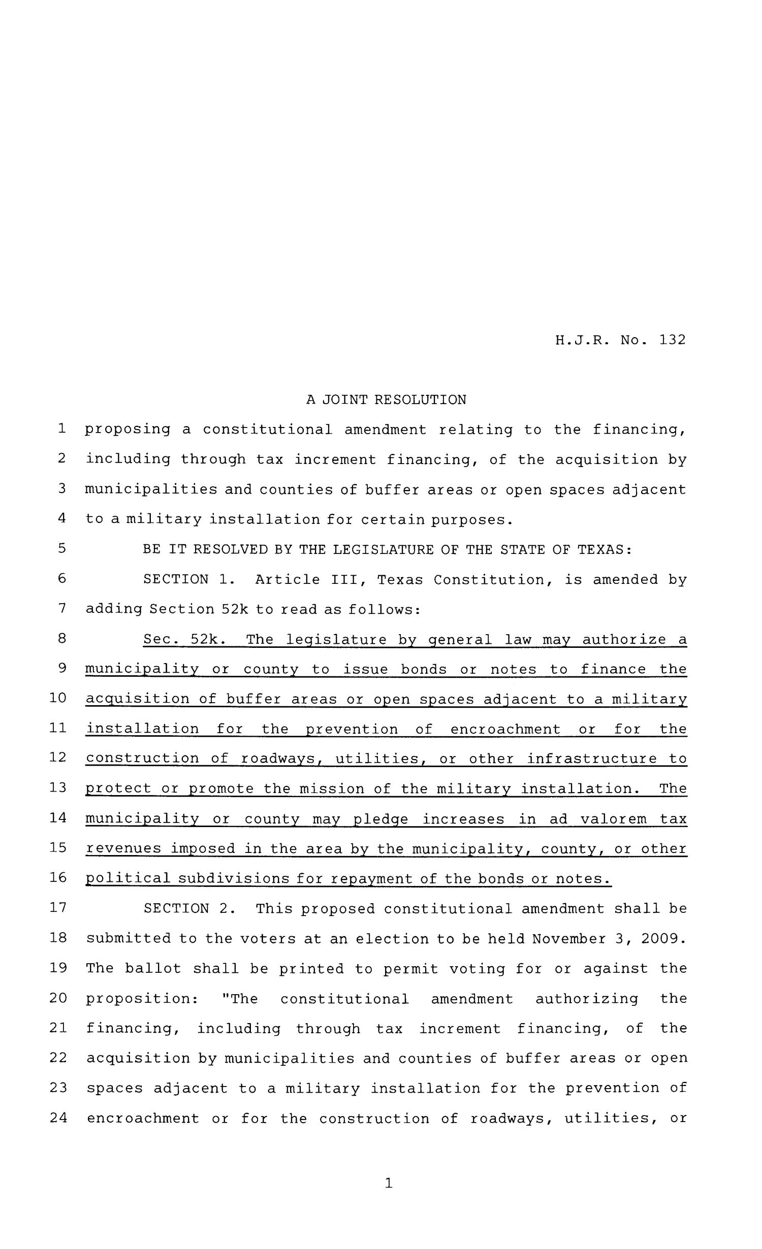 81st Texas Legislature, House Joint Resolution, House Bill 132                                                                                                      [Sequence #]: 1 of 3