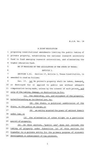 Primary view of object titled '81st Texas Legislature, House Concurrent Resolution, House Bill 14'.