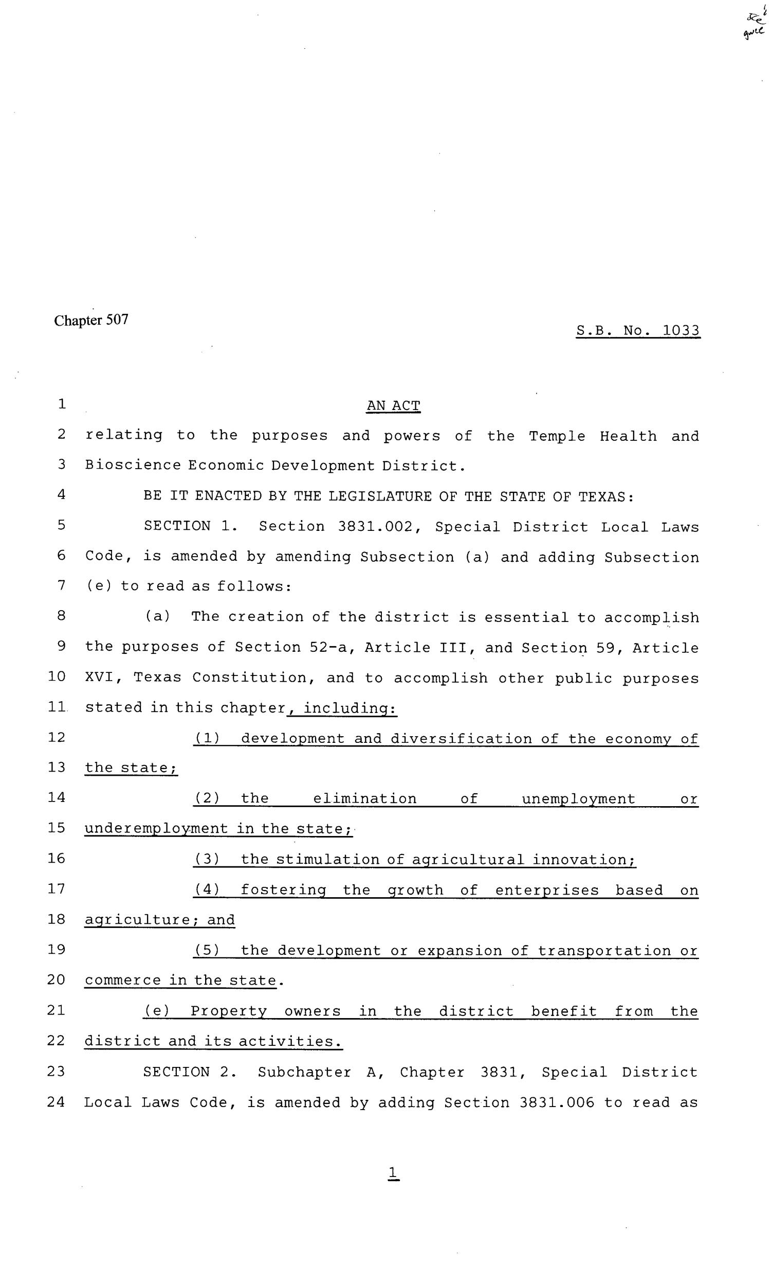 81st Texas Legislature, House Bill 1033, Chapter 507                                                                                                      [Sequence #]: 1 of 8