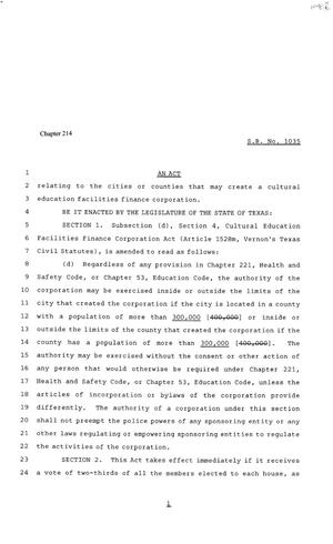 Primary view of object titled '81st Texas Legislature, House Bill 1035, Chapter 214'.