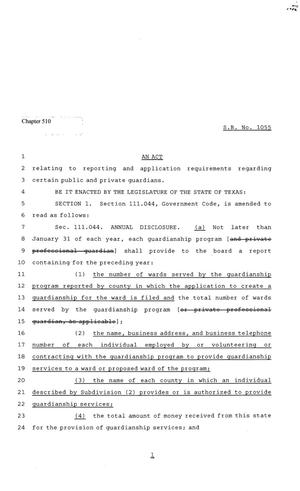 Primary view of object titled '81st Texas Legislature, House Bill 1055, Chapter 510'.