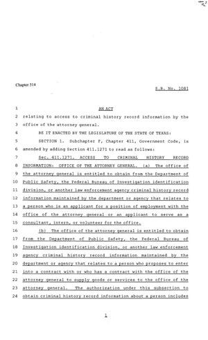 Primary view of object titled '81st Texas Legislature, House Bill 1081, Chapter 514'.