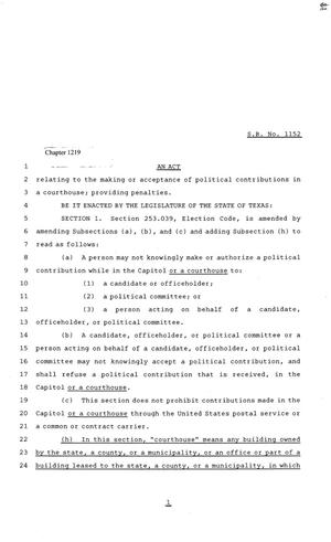 81st Texas Legislature, House Bill 1152, Chapter 1219