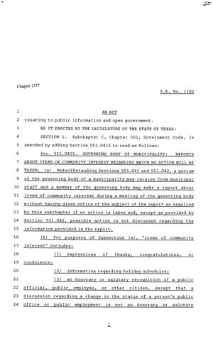 Primary view of object titled '81st Texas Legislature, House Bill 1182, Chapter 1377'.