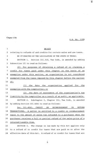81st Texas Legislature, House Bill 1199, Chapter 1378