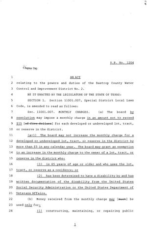 Primary view of object titled '81st Texas Legislature, Senate Bill 1204, Chapter 790'.