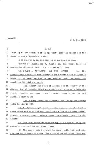 Primary view of object titled '81st Texas Legislature, Senate Bill 1208, Chapter 520'.