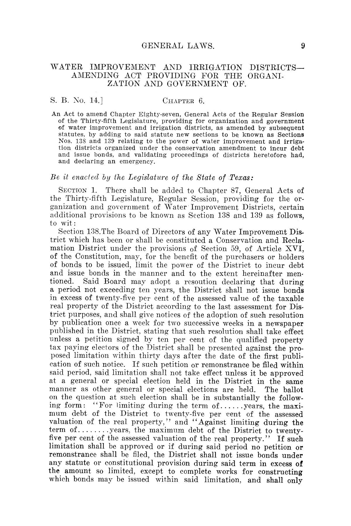 The Laws of Texas, 1921 [Volume 21]                                                                                                      [Sequence #]: 17 of 1670