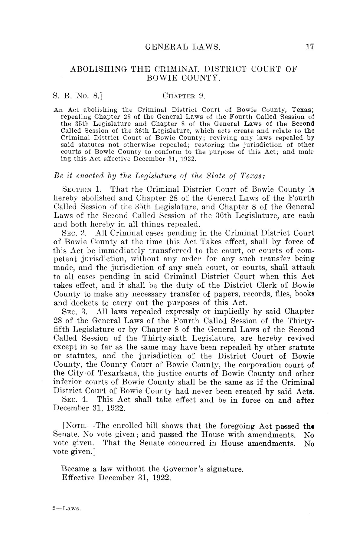 The Laws of Texas, 1921 [Volume 21]                                                                                                      [Sequence #]: 25 of 1670