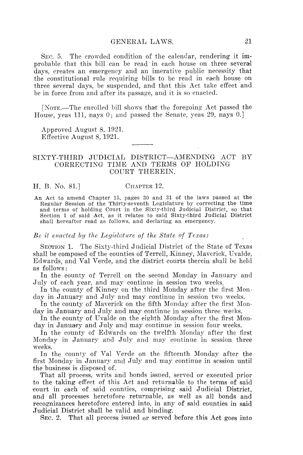 The Laws of Texas, 1921 [Volume 21]                                                                                                      [Sequence #]: 29 of 1670