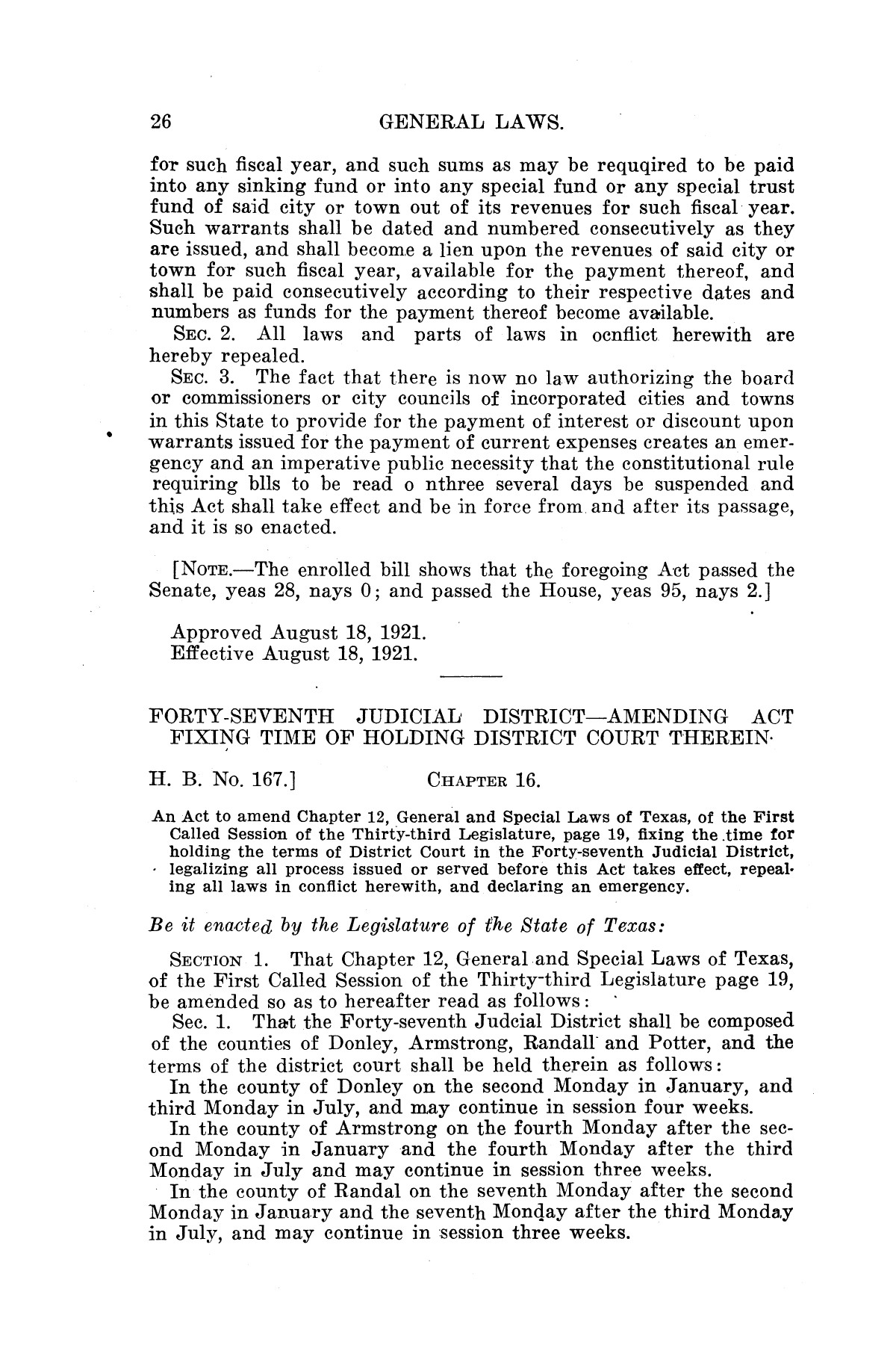 The Laws of Texas, 1921 [Volume 21]                                                                                                      [Sequence #]: 34 of 1670