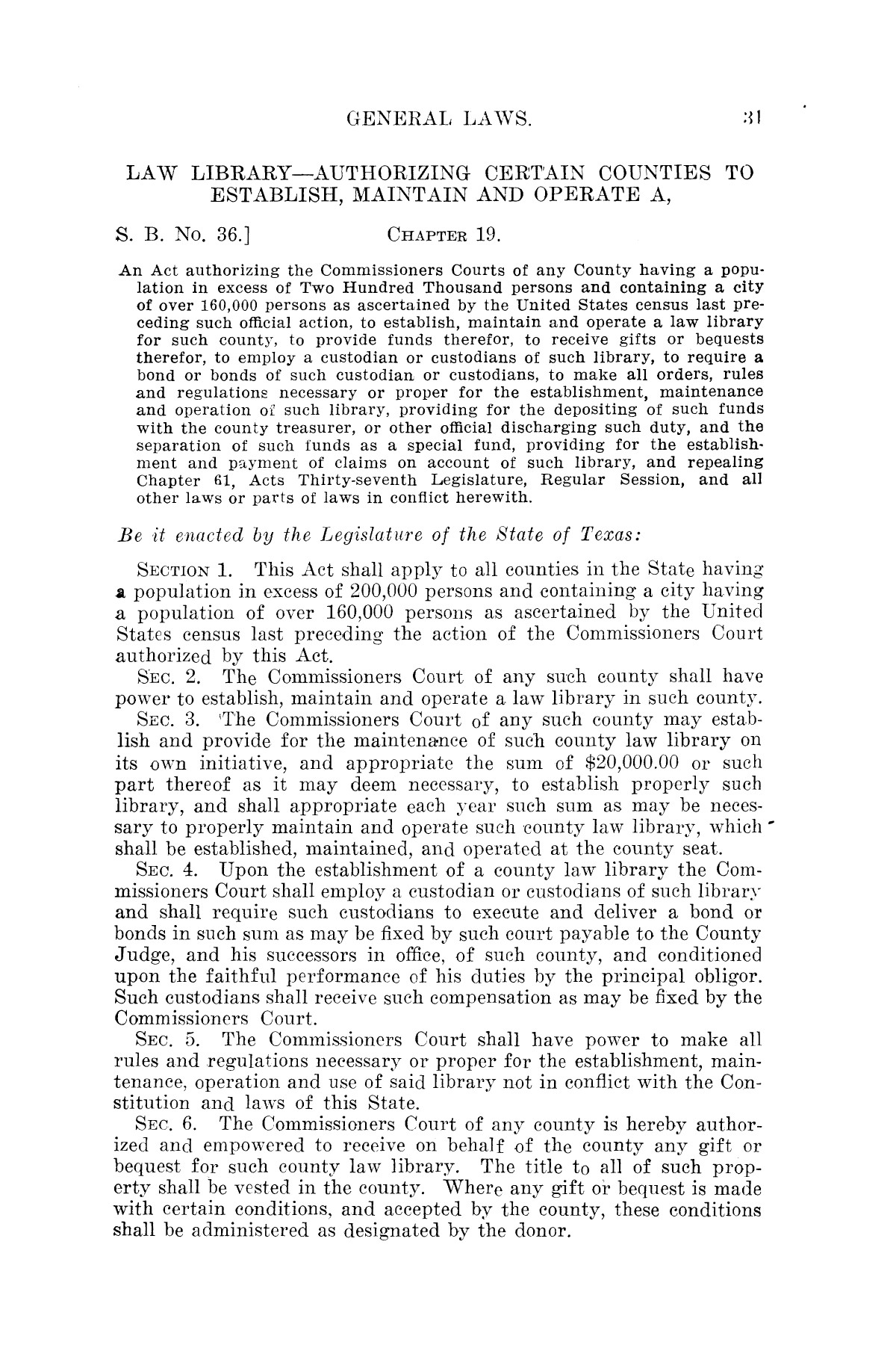 The Laws of Texas, 1921 [Volume 21]                                                                                                      [Sequence #]: 39 of 1670
