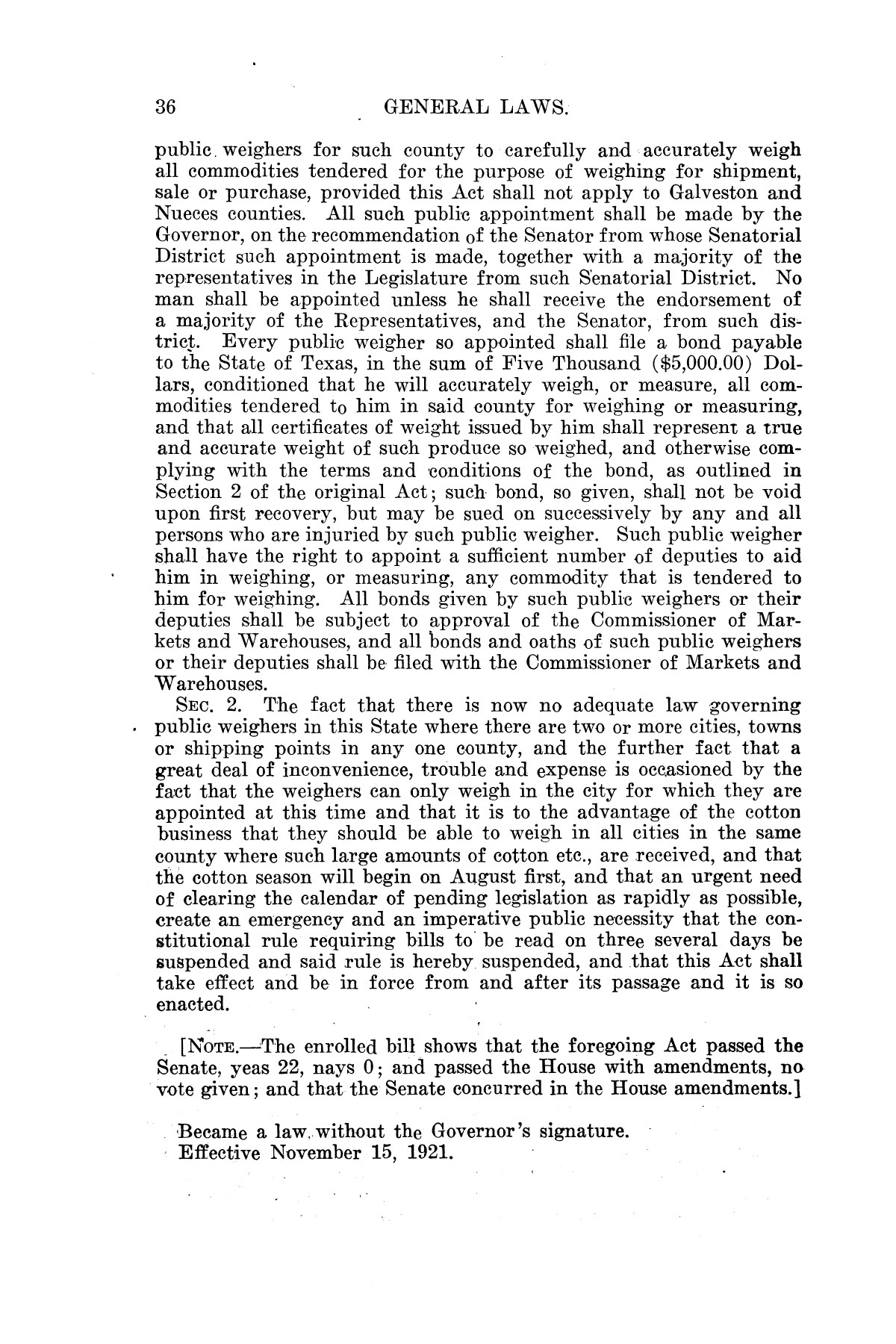 The Laws of Texas, 1921 [Volume 21]                                                                                                      [Sequence #]: 44 of 1670