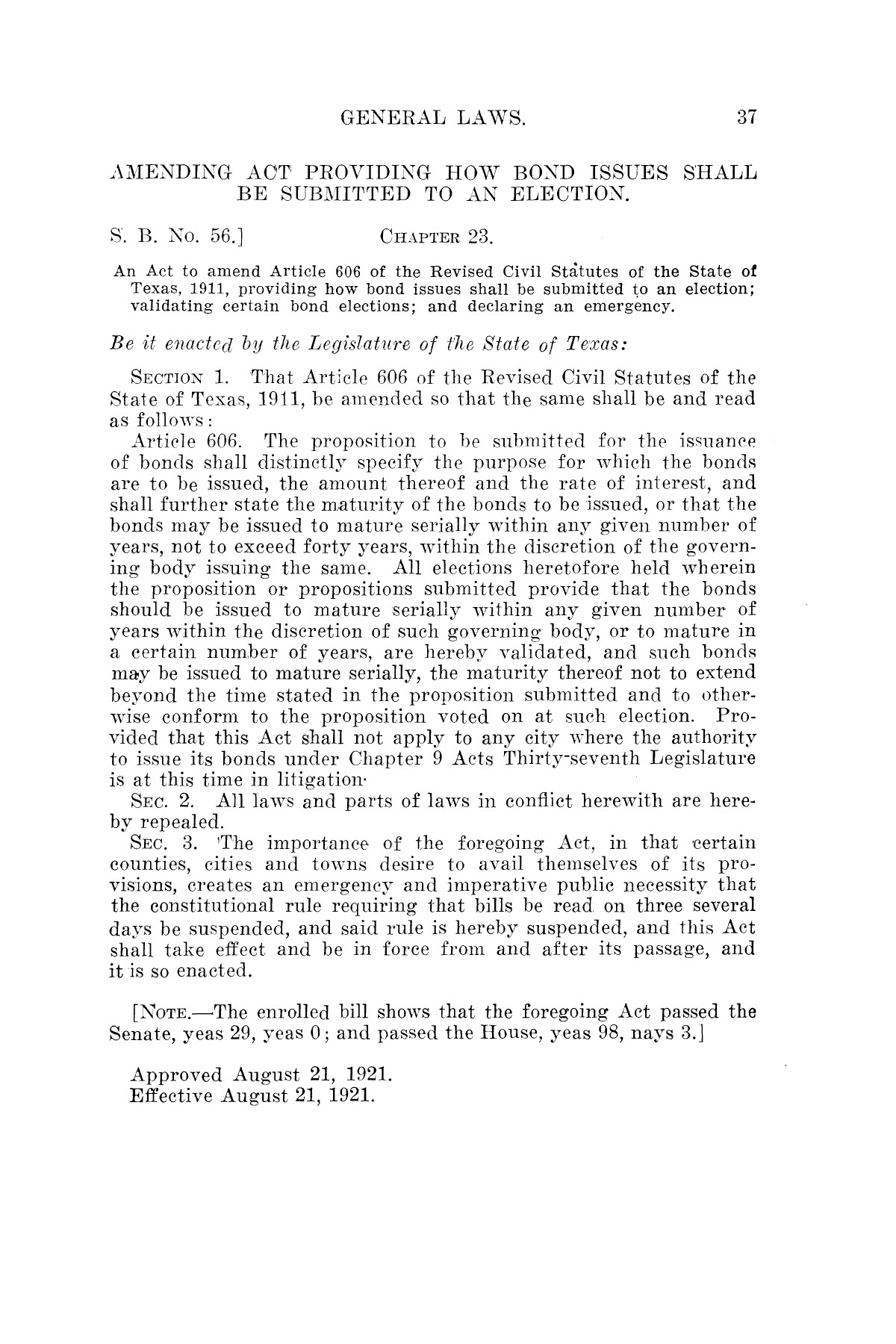 The Laws of Texas, 1921 [Volume 21]                                                                                                      [Sequence #]: 45 of 1670