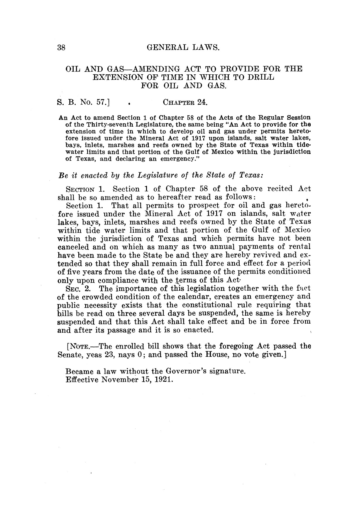 The Laws of Texas, 1921 [Volume 21]                                                                                                      [Sequence #]: 46 of 1670