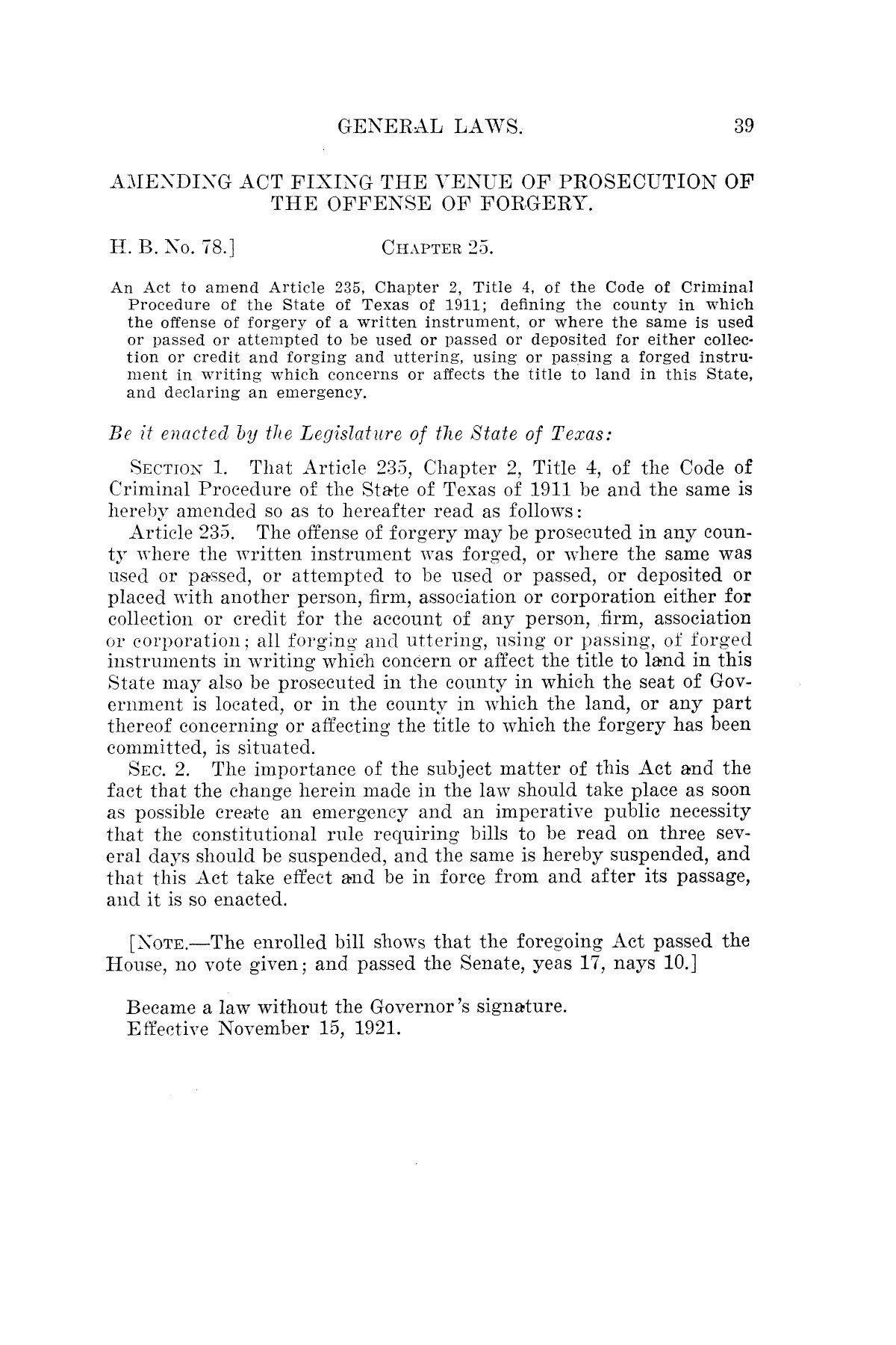 The Laws of Texas, 1921 [Volume 21]                                                                                                      [Sequence #]: 47 of 1670