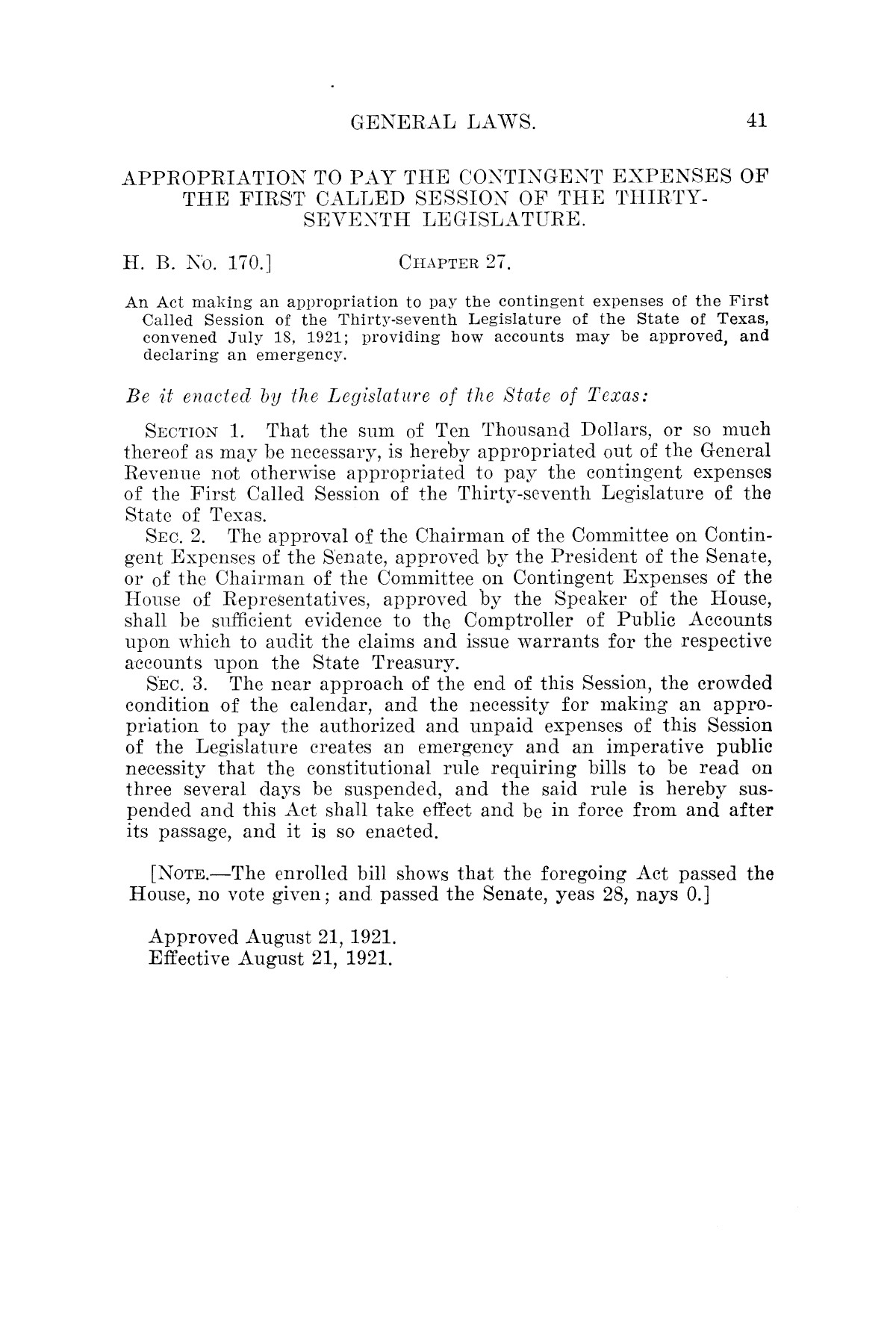 The Laws of Texas, 1921 [Volume 21]                                                                                                      [Sequence #]: 49 of 1670