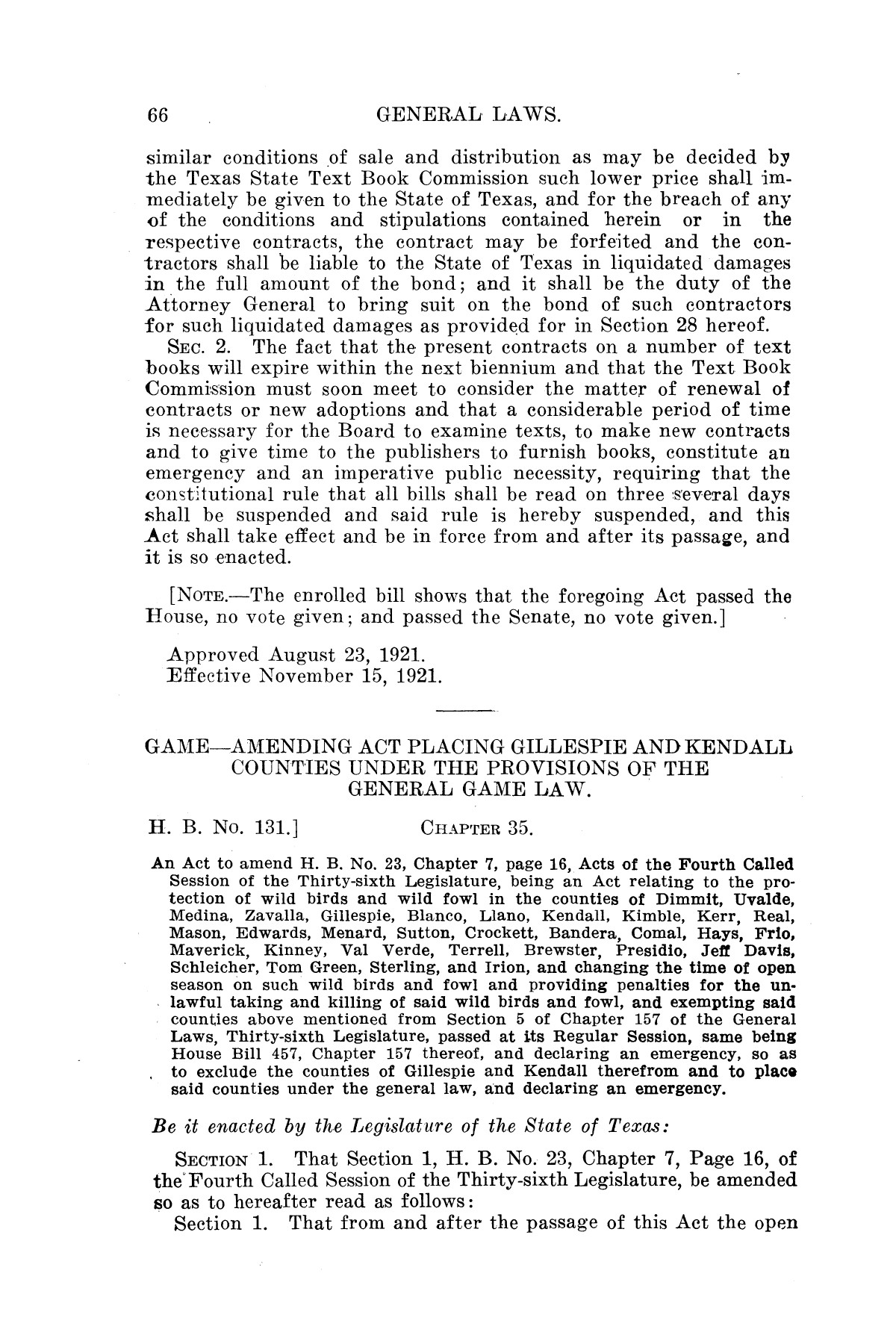 The Laws of Texas, 1921 [Volume 21]                                                                                                      [Sequence #]: 74 of 1670