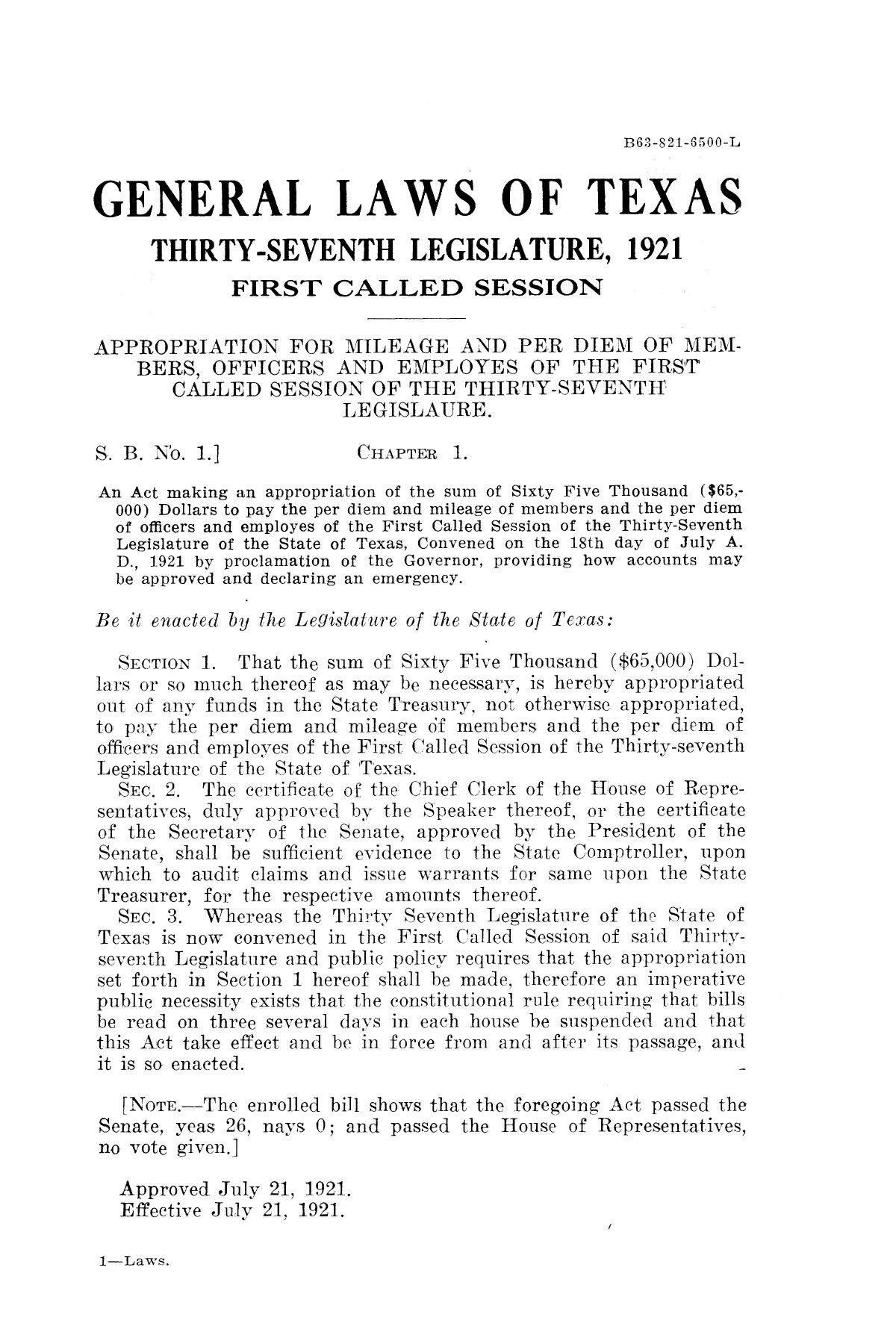 The Laws of Texas, 1921 [Volume 21]                                                                                                      [Sequence #]: 9 of 1670