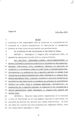 81st Texas Legislature, Senate Bill 1271, Chapter 220