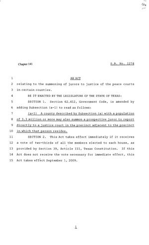 Primary view of object titled '81st Texas Legislature, Senate Bill 1274, Chapter 141'.