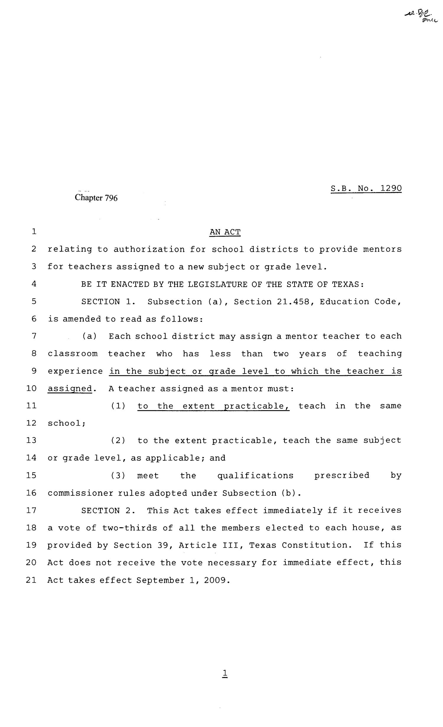 81st Texas Legislature, Senate Bill 1290, Chapter 796                                                                                                      [Sequence #]: 1 of 2