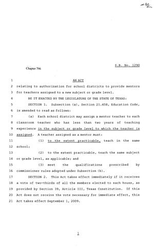 Primary view of object titled '81st Texas Legislature, Senate Bill 1290, Chapter 796'.