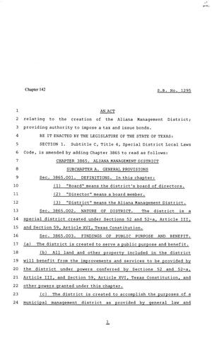 81st Texas Legislature, Senate Bill 1295, Chapter 142