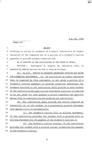 Primary view of object titled '81st Texas Legislature, Senate Bill 1304, Chapter 1223'.