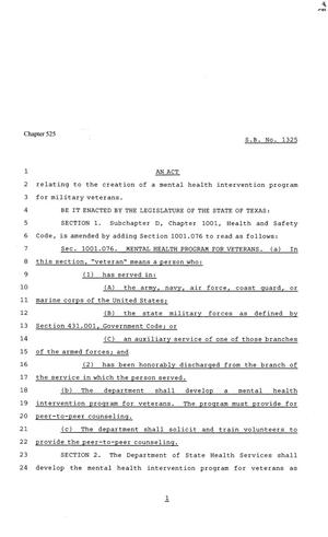 81st Texas Legislature, Senate Bill 1325, Chapter 525