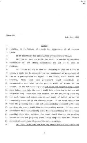 Primary view of object titled '81st Texas Legislature, Senate Bill 1359, Chapter 530'.