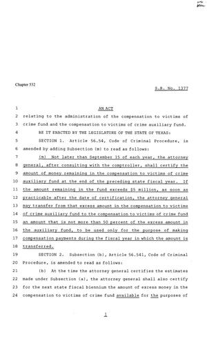 81st Texas Legislature, Senate Bill 1377, Chapter 532
