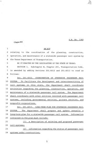 Primary view of object titled '81st Texas Legislature, Senate Bill 1382, Chapter 801'.