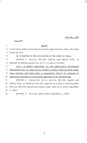 81st Texas Legislature, Senate Bill 1472, Chapter 809