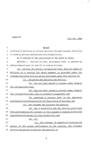 81st Texas Legislature, Senate Bill 1484, Chapter 229