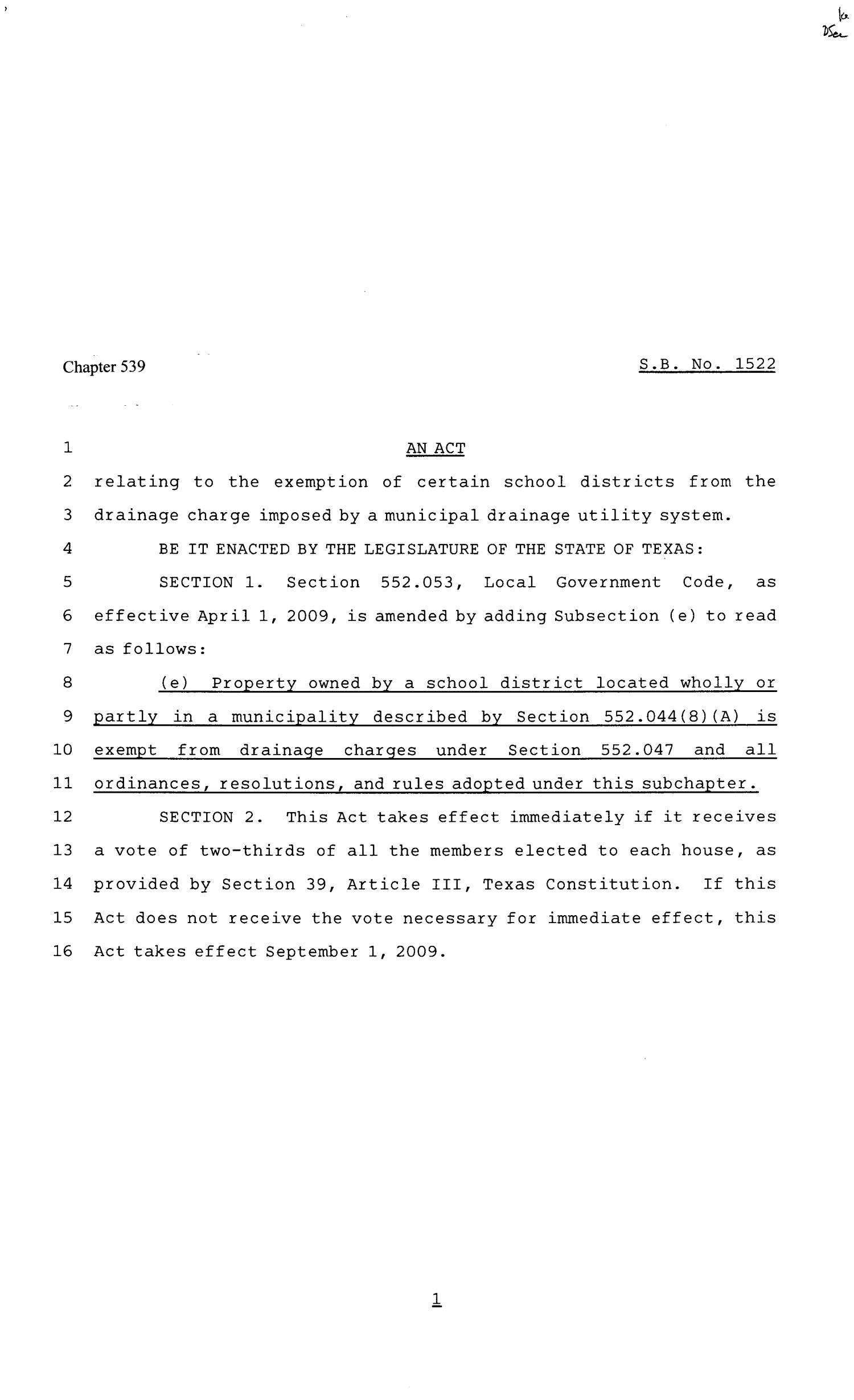 81st Texas Legislature, Senate Bill 1522, Chapter 539                                                                                                      [Sequence #]: 1 of 2