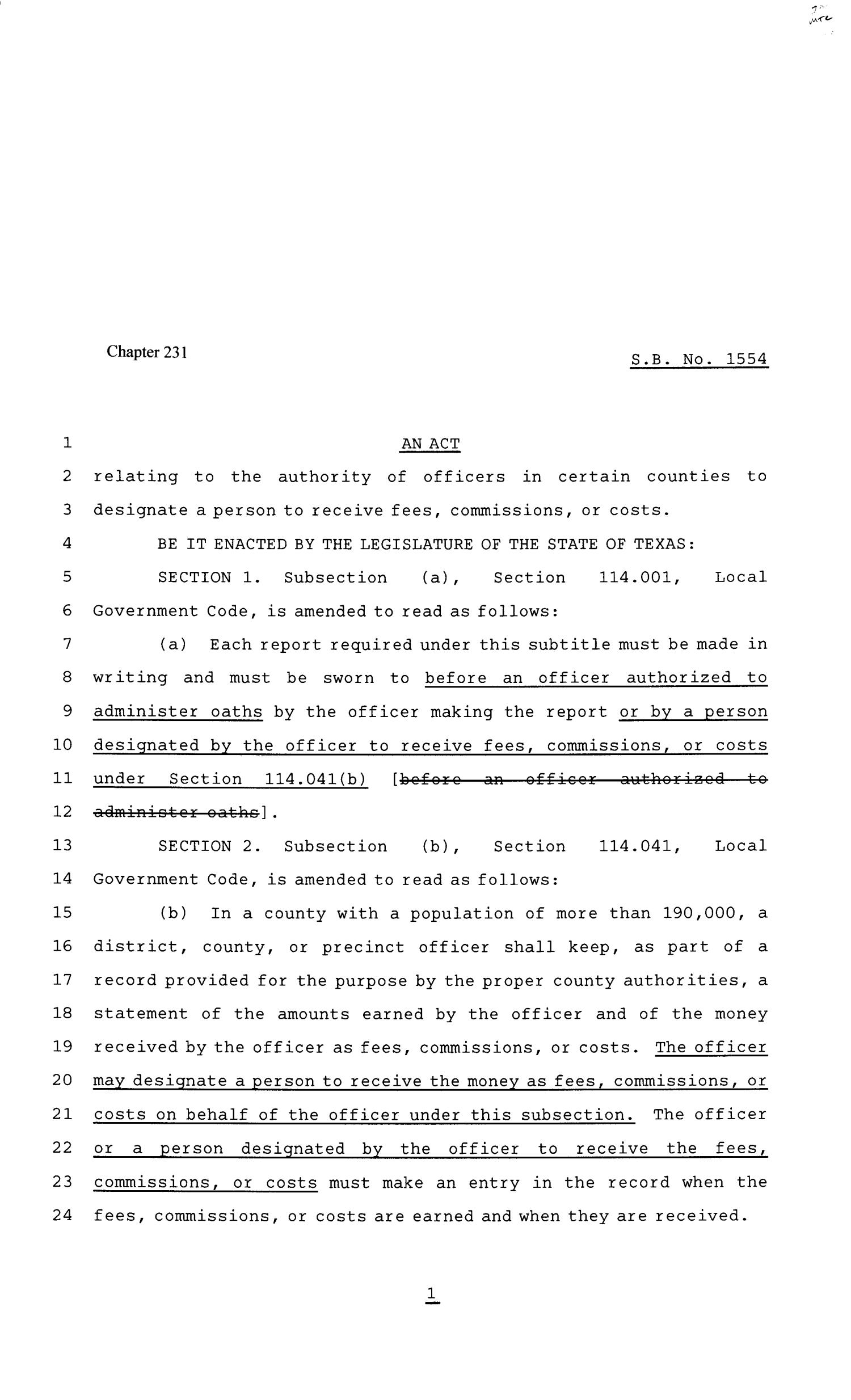 81st Texas Legislature, Senate Bill 1554, Chapter 231                                                                                                      [Sequence #]: 1 of 2