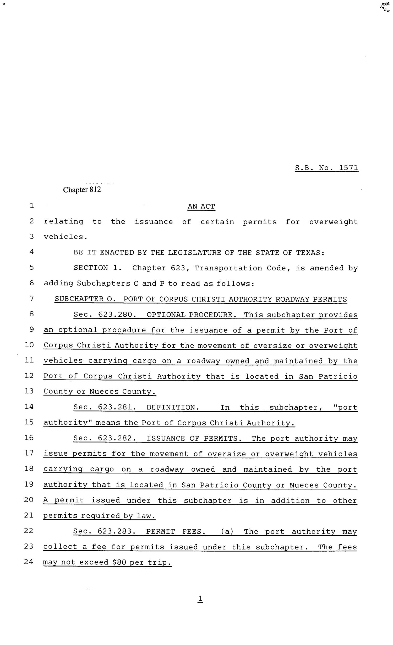 81st Texas Legislature, Senate Bill 1571, Chapter 812                                                                                                      [Sequence #]: 1 of 6
