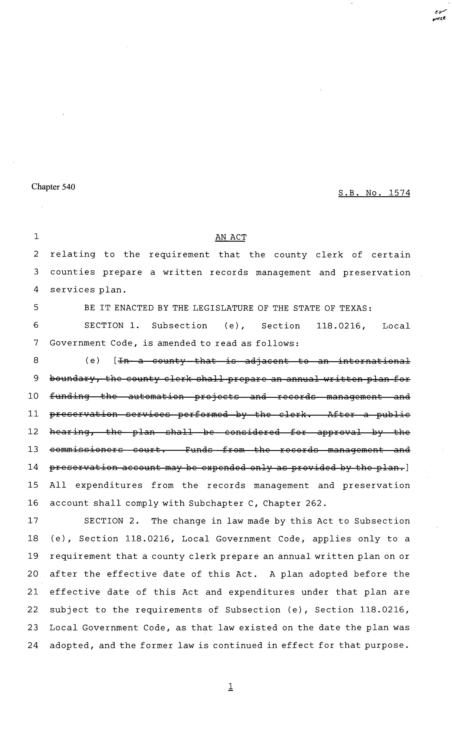 81st Texas Legislature, Senate Bill 1574, Chapter 540                                                                                                      [Sequence #]: 1 of 3