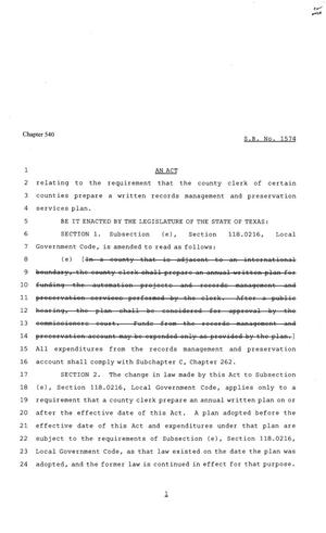Primary view of object titled '81st Texas Legislature, Senate Bill 1574, Chapter 540'.