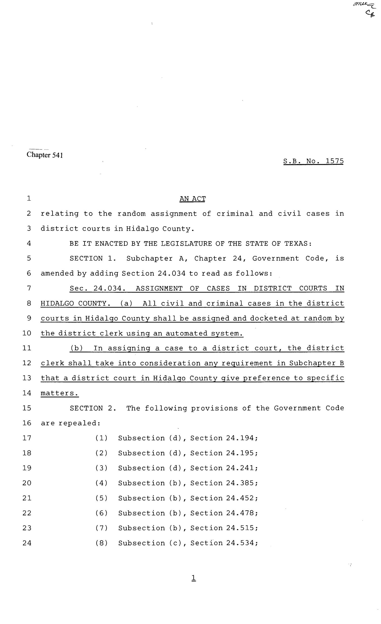 81st Texas Legislature, Senate Bill 1575, Chapter 541                                                                                                      [Sequence #]: 1 of 3