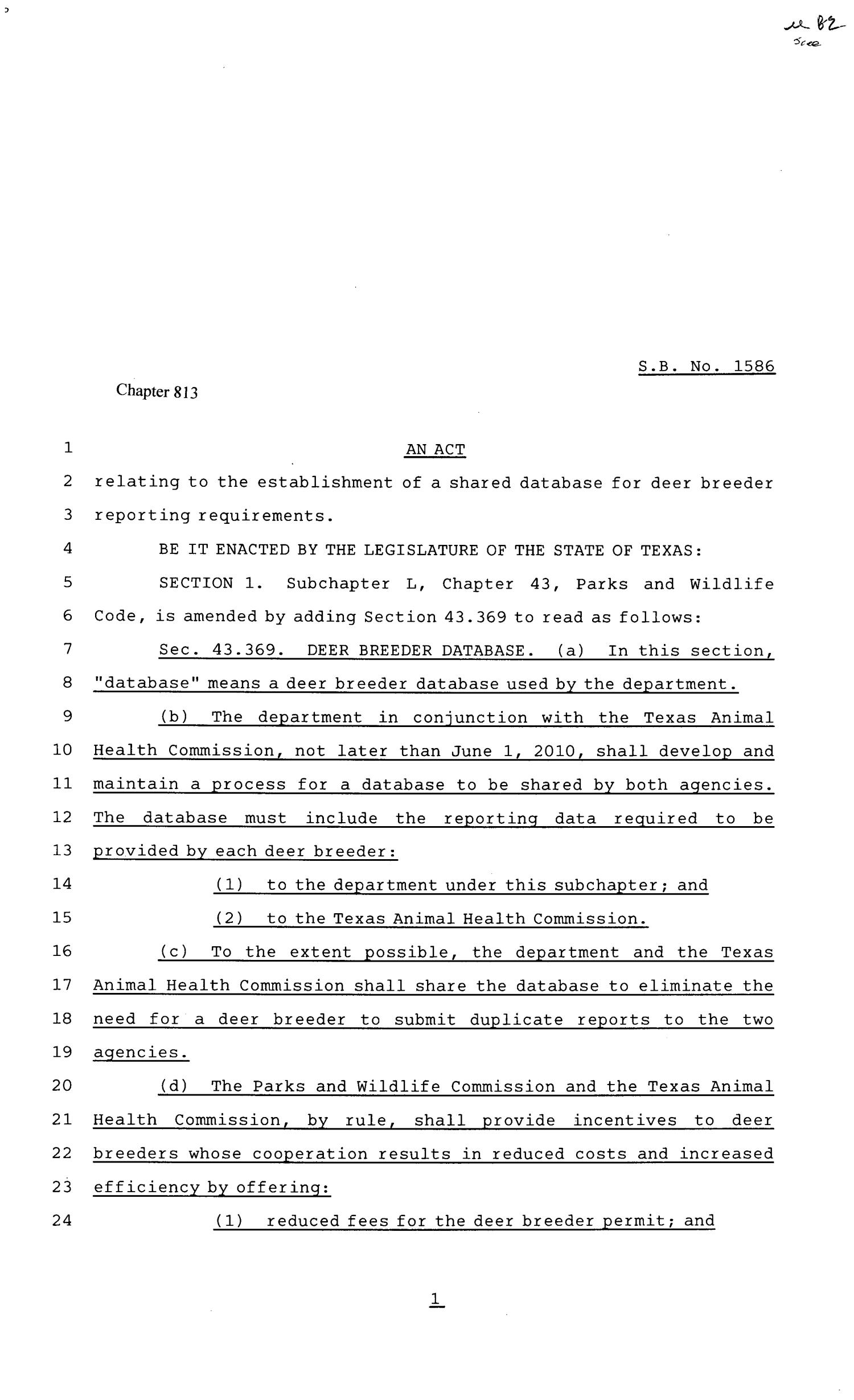 81st Texas Legislature, Senate Bill 1586, Chapter 813                                                                                                      [Sequence #]: 1 of 3