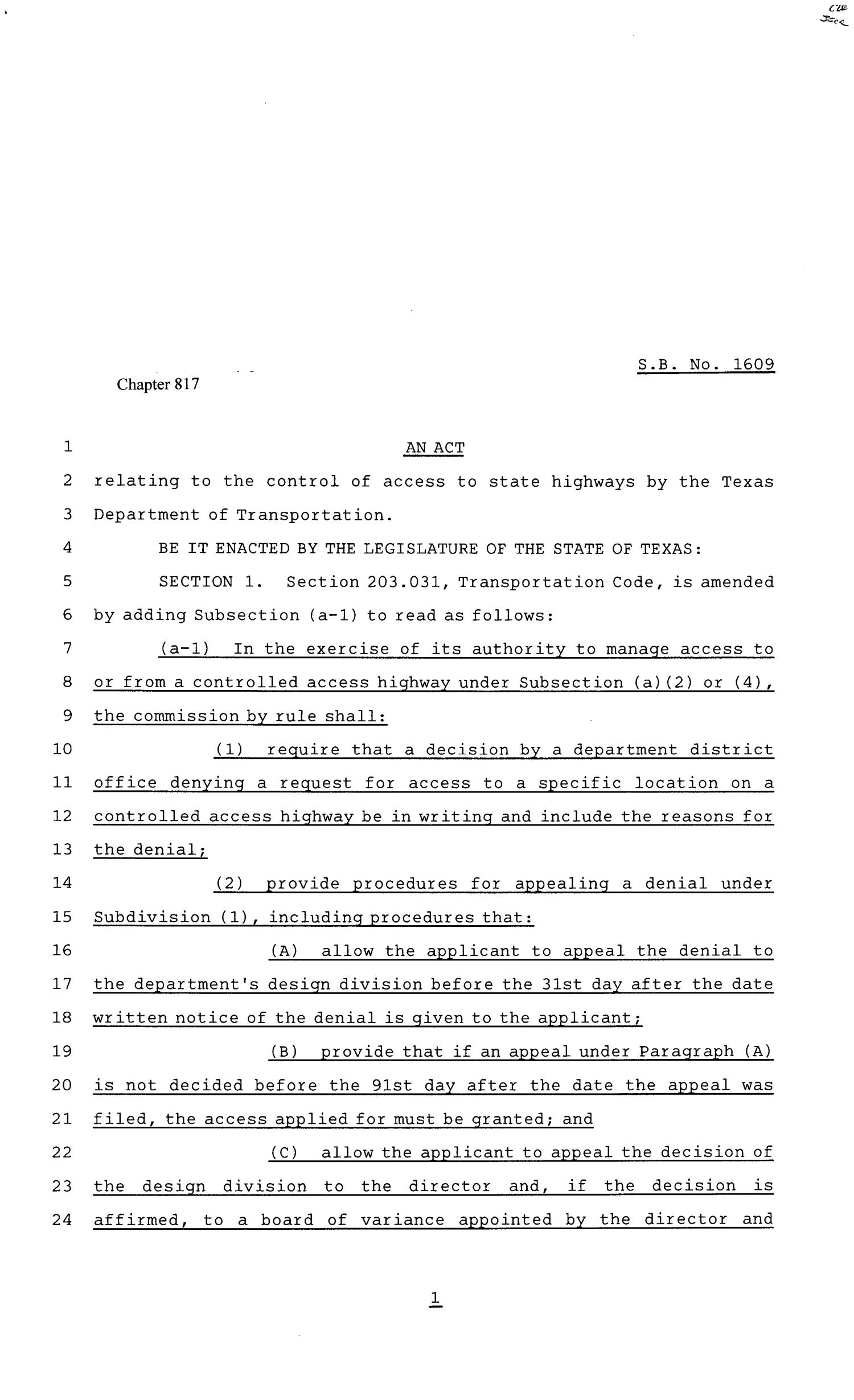 81st Texas Legislature, Senate Bill 1609, Chapter 817                                                                                                      [Sequence #]: 1 of 4