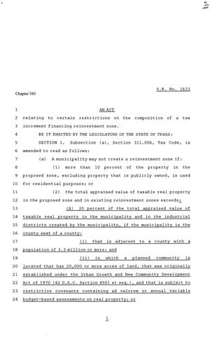 81st Texas Legislature, Senate Bill 1633, Chapter 543