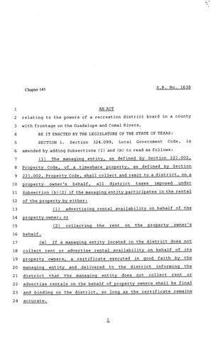 Primary view of object titled '81st Texas Legislature, Senate Bill 1638, Chapter 145'.