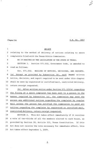 81st Texas Legislature, Senate Bill 1807, Chapter 554