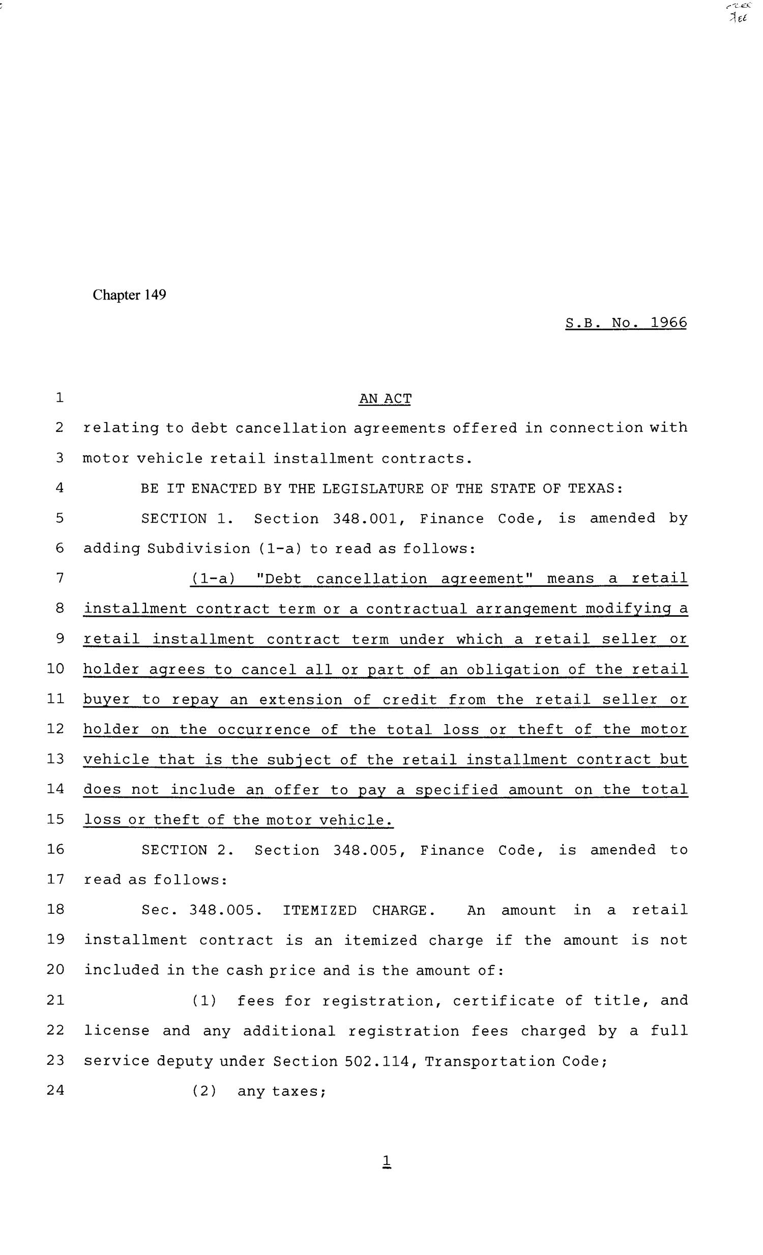 81st Texas Legislature, Senate Bill 1966, Chapter 149                                                                                                      [Sequence #]: 1 of 4